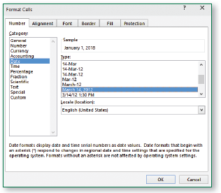 The Date category in the Format Cells dialog box